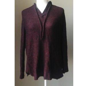 Burgundy/dark grey hooded long sleeve shirt Size M